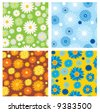 four seamless textures of flowers - stock vector
