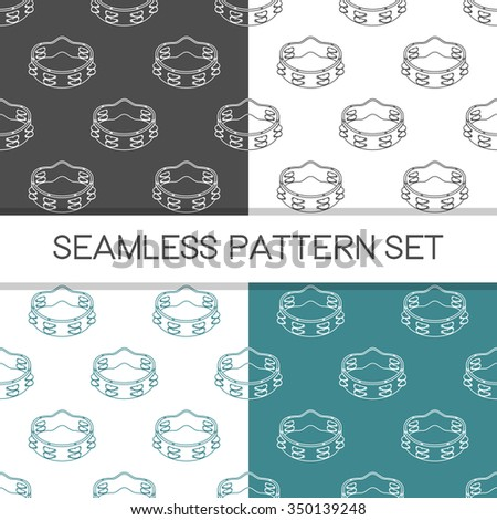 Four seamless vector patterns in different colors. Music background with tambourine vector outline illustration. Design element for music store or studio packaging or t-shirt design. - stock vector