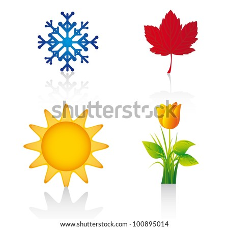 four season elements over white background. vector illustration - stock vector
