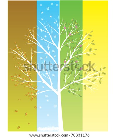 four season tree in one vector eps8 - stock vector