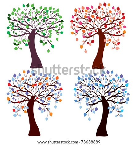 Four season trees set with color leaves