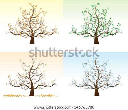 Four seasons Art tree beautiful for your design