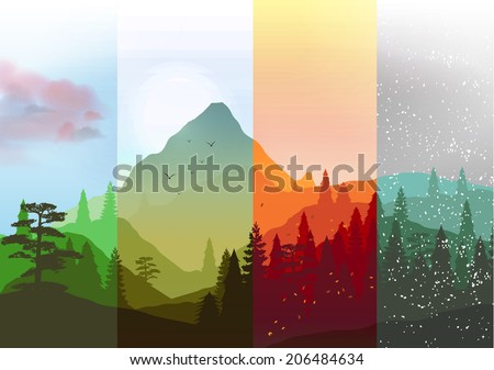 Four Seasons Banners with Abstract Forest and Mountains - Vector Illustration - stock vector