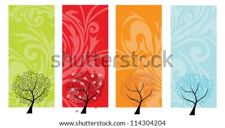 four seasons banners with abstract trees - stock vector