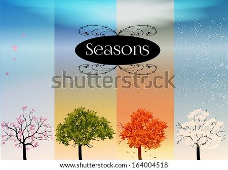 Four Seasons Banners with Abstract Trees - Vector Illustration - stock vector