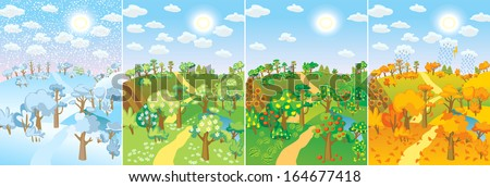 Four seasons. Concept of life cycle in nature. Images of beautiful natural landscapes at different time of the year - winter spring, summer, autumn. Vector illustration - stock vector