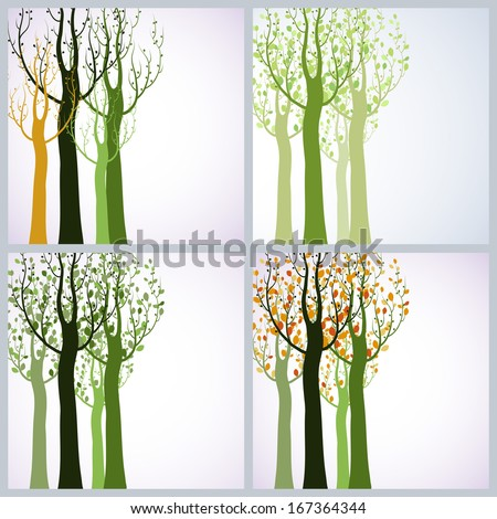 Four seasons. Decorative trees on white background. - stock vector