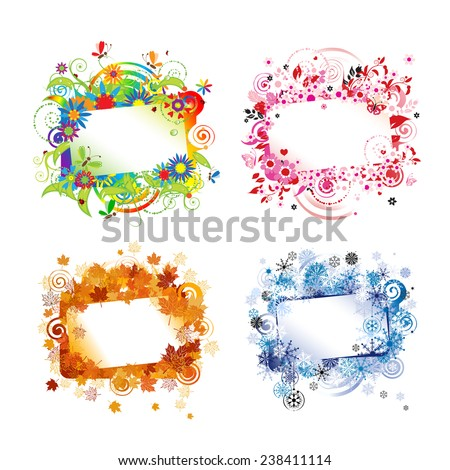 Four seasons, design frames with place for your text. Vector illustration - stock vector