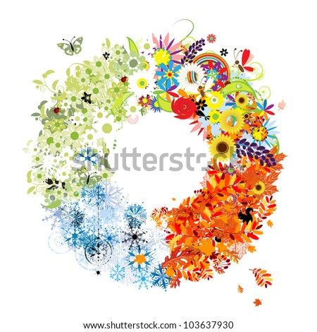Four seasons frame - spring, summer, autumn, winter. - stock vector
