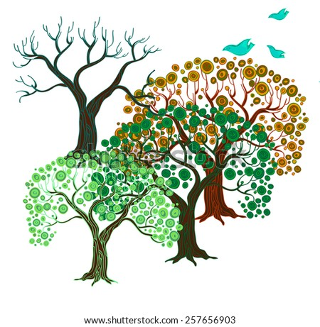 Four seasons. Hand drawn vector illustration with trees in different periods of a year and decorative cartoon birds.