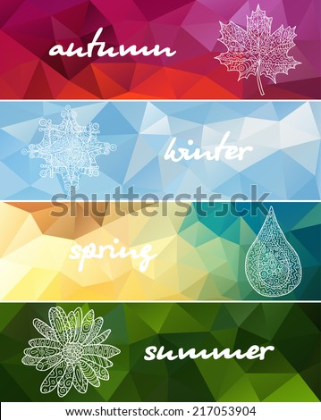 Four seasons horizontal banners  - stock vector