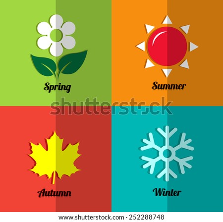 Four seasons icon set - stock vector