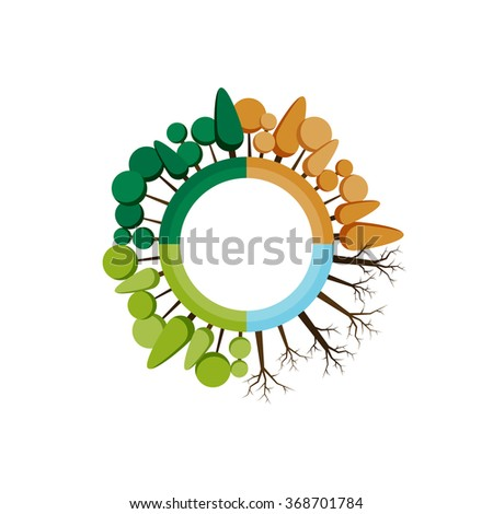 Four seasons icon. Vector illustrations. Tree of spring, summer, autumn and winter. For banners, websites, printing - stock vector