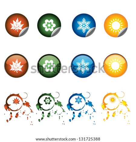 Four seasons icons - stock vector