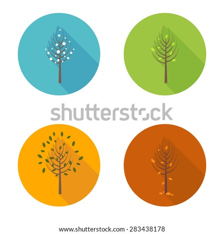 Four seasons icons with long shadow - stock vector