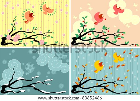 Four seasons in a branch of cherry and birds. - stock vector