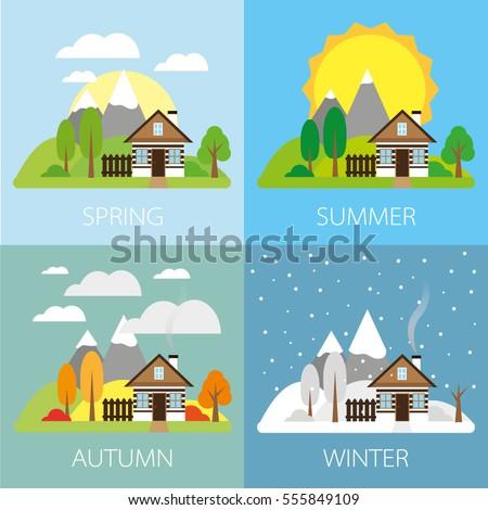 Four seasons - landscape with house, flat vectors - Four Seasons Landscape House Flat Vectors Stock Vector (2018