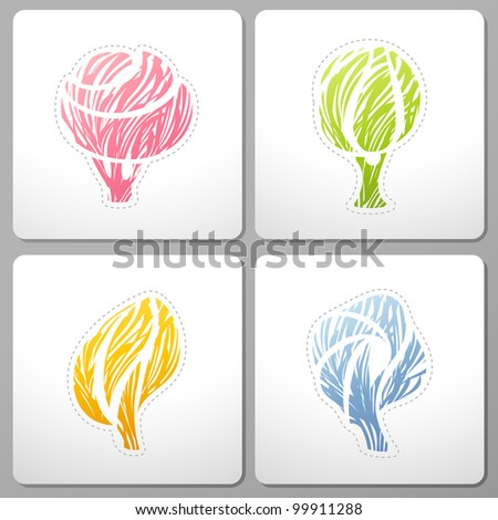 Four seasons of abstract  tree. Vector design elements. - stock vector