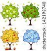 Four seasons of spring, summer, autumn, winter in a tree isolated on white background - stock vector