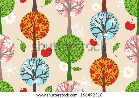 Four seasons. Seamless pattern. Winter, Spring, Summer and Autumn. Four various types of trees. Seamless pattern can be used for wallpapers, web page backgrounds or wrapping papers. EPS 8. - stock vector