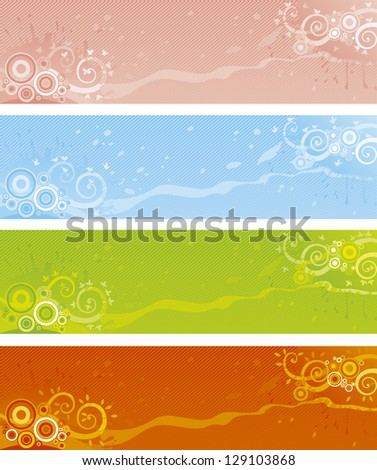 Four seasons - summer, winter, soring and autumn. Vector abstract banners for web design - stock vector