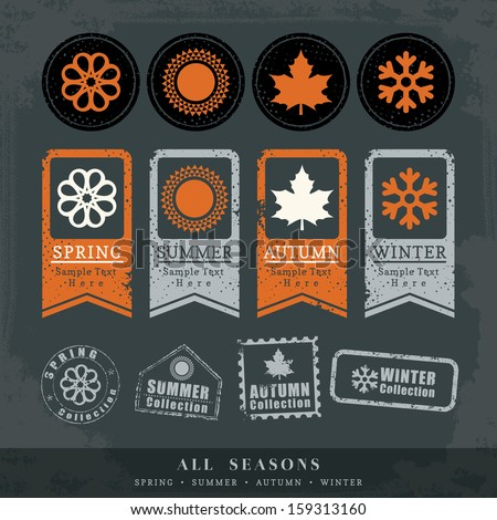 four seasons symbol vector illustration for postage stamp label tag sticker - stock vector