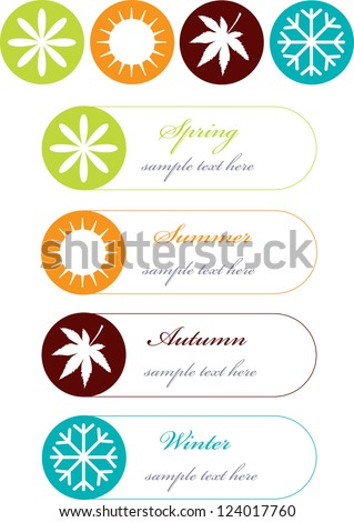 four seasons symbols with frames for text isolated on white background,colorful vector labels - stock vector