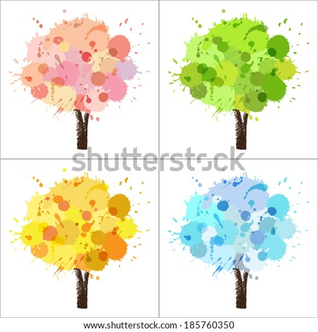 Four seasons tree of paint splashes with colors for spring, summer, autumn, winter - stock vector