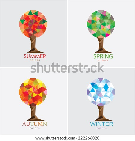four seasons tree vector illustration- modern polygonal low poly style- set collection - stock vector