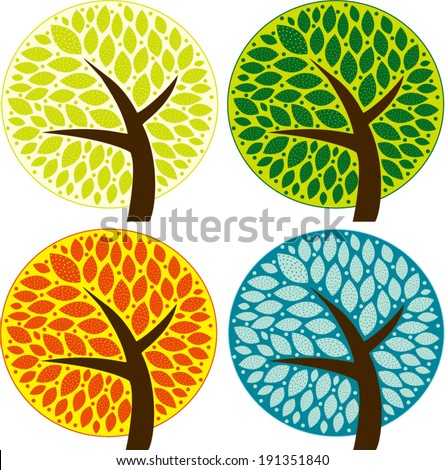 Four Seasons Trees - stock vector
