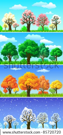 Four seasons trees and landscape banners - stock vector