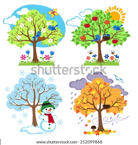 Four Seasons Trees Clipart and Vector with Spring, Summer, Fall and Winter Trees - stock vector