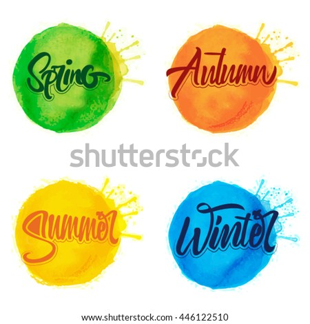 Four Seasons Typographic Banner. Vector