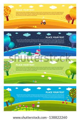 Four seasons: winter, spring, summer, autumn. Vector. - stock vector