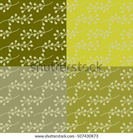 Four set of seamless repeating pattern with branches on colourful background. Autumn tiling background, poster, textile, greeting card design.