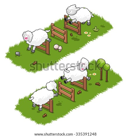 Four sheep jumping back and forth over wooden fences (isometric illustration) - stock vector