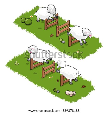 Four sheep jumping high over wooden fences and shouting baa (isometric view) - stock vector