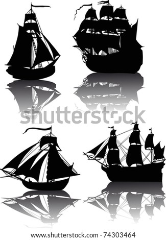 four ship silhouettes with reflections isolated on white background - stock vector