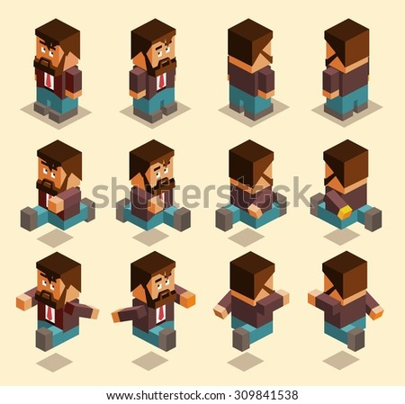 four sided character set. isometric art - stock vector