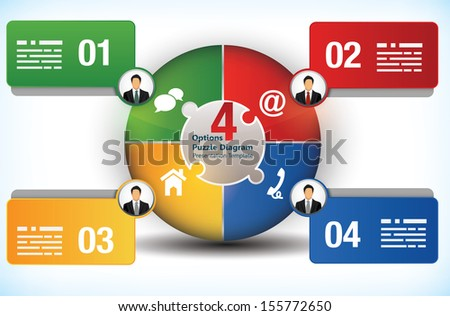 Four sided design template with text boxes and avatars - stock vector
