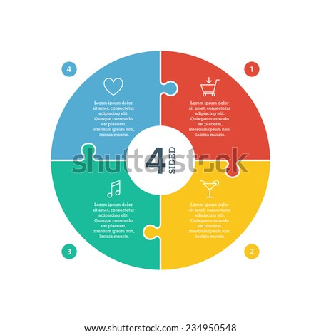 Four sided, numbered flat rainbow spectrum colored puzzle presentation infographic chart with explanatory text field isolated on white background. Vector graphic template. - stock vector
