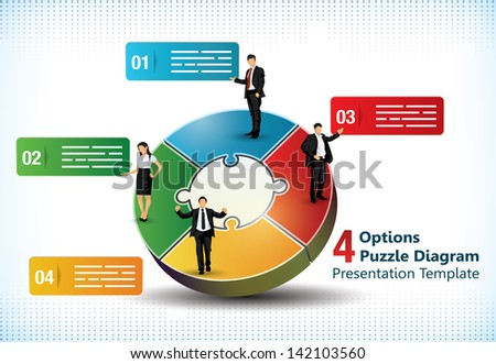 Four sided puzzle presentation template with business people silhouettes and text fields used in commercial designs - stock vector