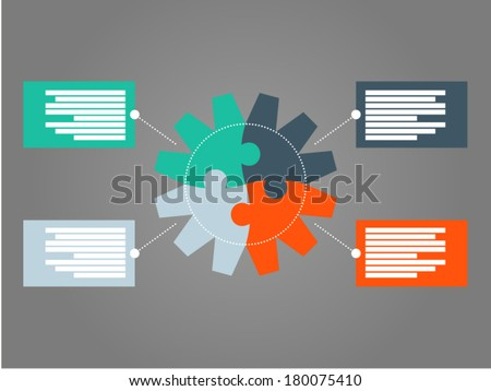 Four sided round puzzle gear presentation infographic diagram template with numbered explanatory text field on dark background - stock vector