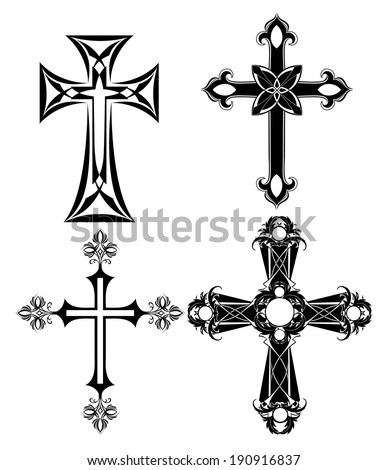 four silhouetted , black cross on a white background.