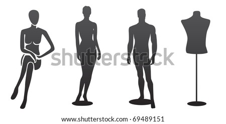 Four silhouettes of mannequin, isolated - stock vector