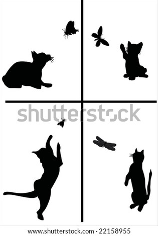four small kittens playing with butterflies