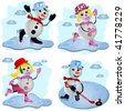 Four snowman with different sport activities. - stock vector