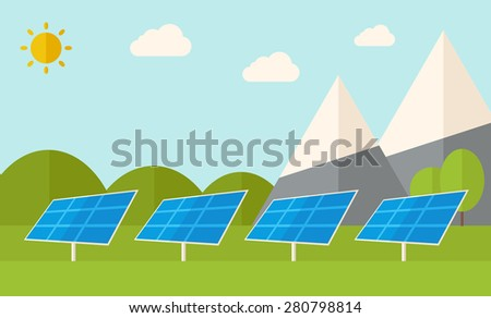 Four solar panels standing under the heat of the sun use for energy alternative. A Contemporary style with pastel palette, soft blue tinted background with desaturated clouds. Vector flat design - stock vector
