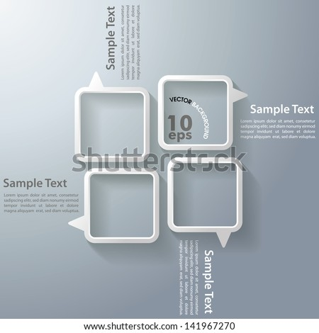 Four speech bubbles on the grey background. Eps 10 vector file. - stock vector