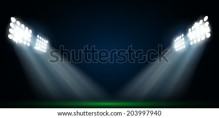 Four spotlights on a football field vector - stock vector